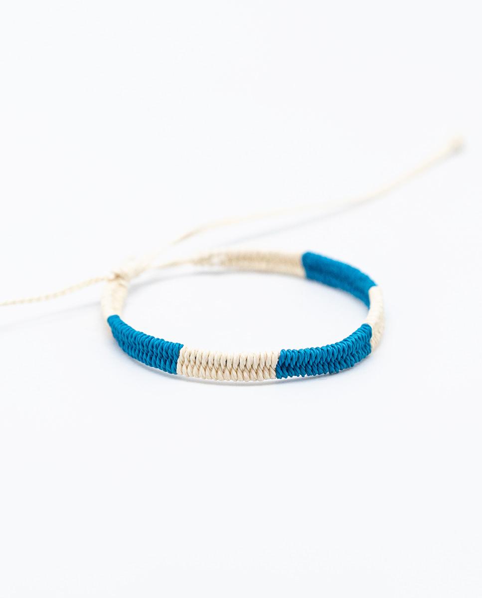 Pulsera Bicolor Azul/Crudo