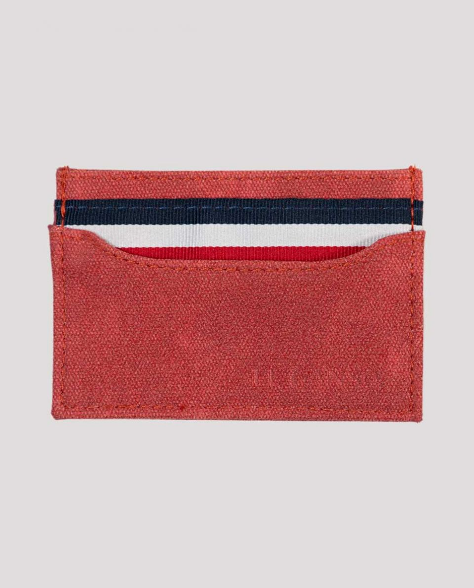 Small Red Washed Canvas Card Holder