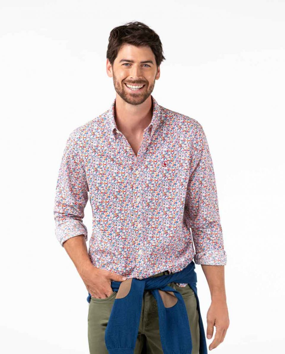 Multicolored floral print shirt