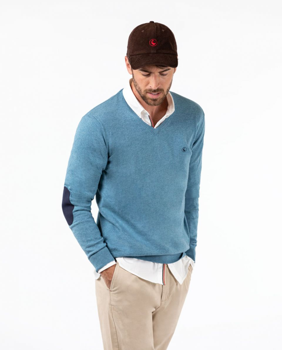 Sky Blue V-Neck Jumper in Cotton Cashmere W  Elbow Patches