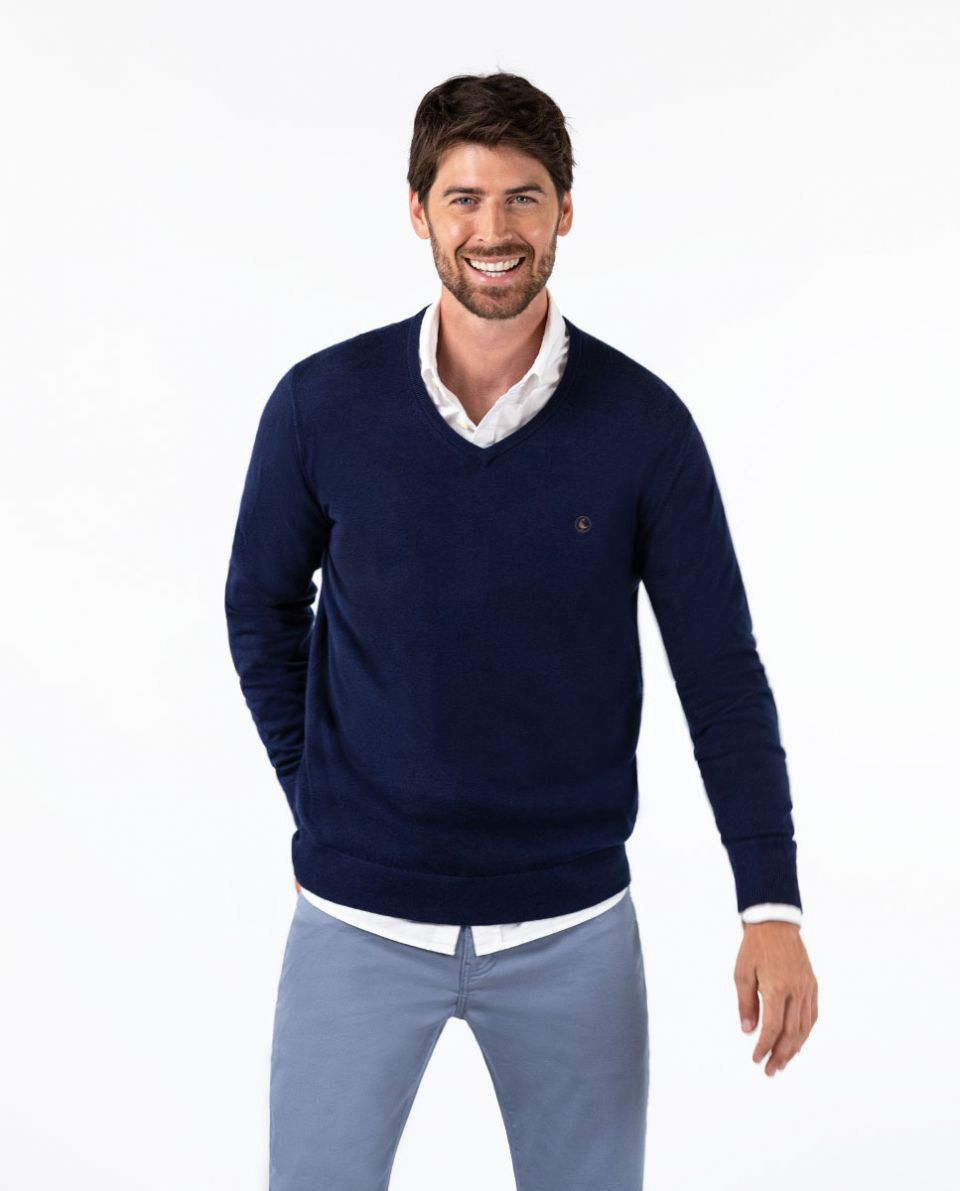 Navy V-Neck Jumper in Cotton/Cashmere W/ Elbow Patches