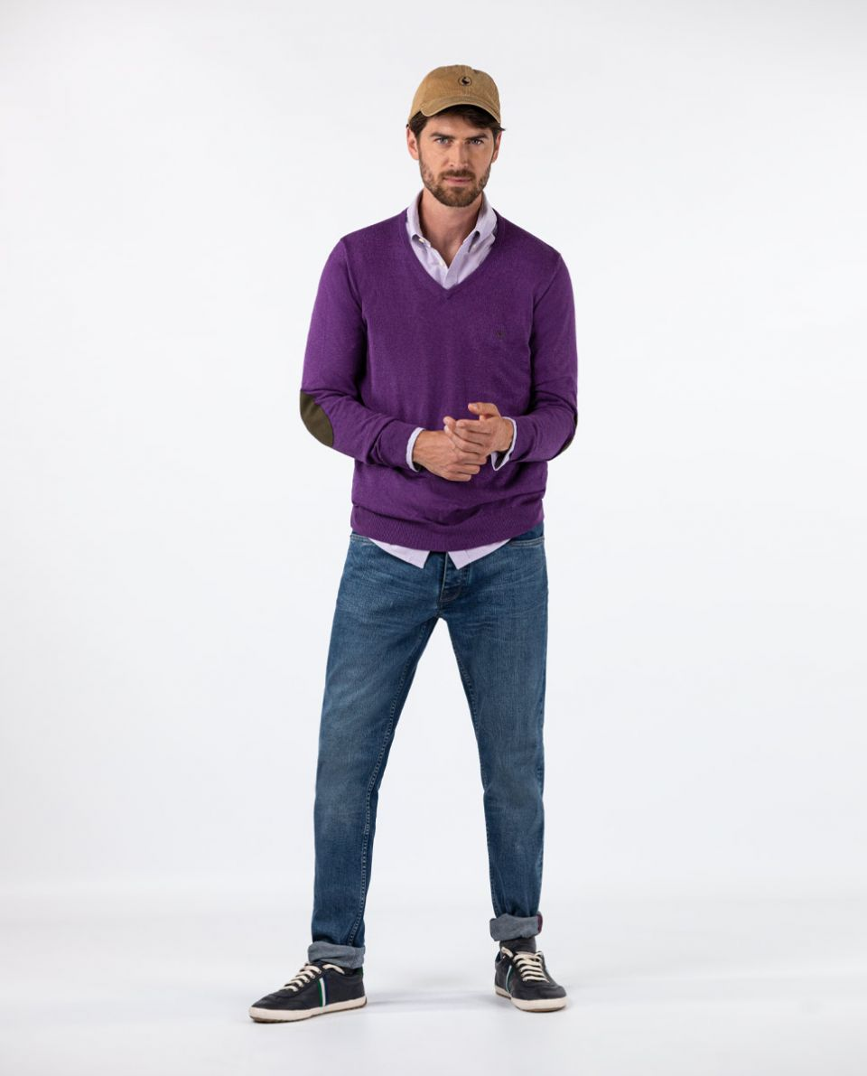 Purple V-Neck Jumper in Cotton Cashmere W  Elbow Patches