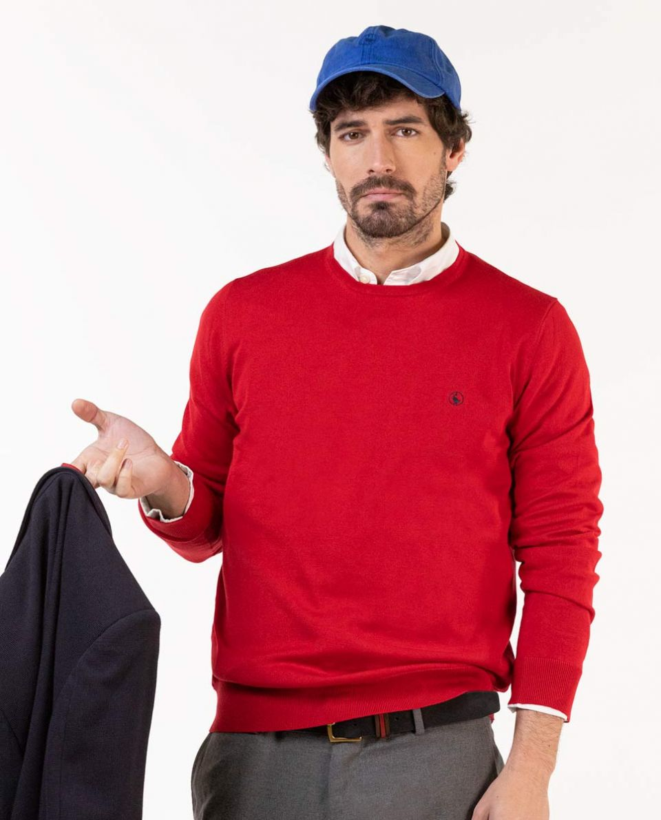 Pull Rouge Coton Col Rond