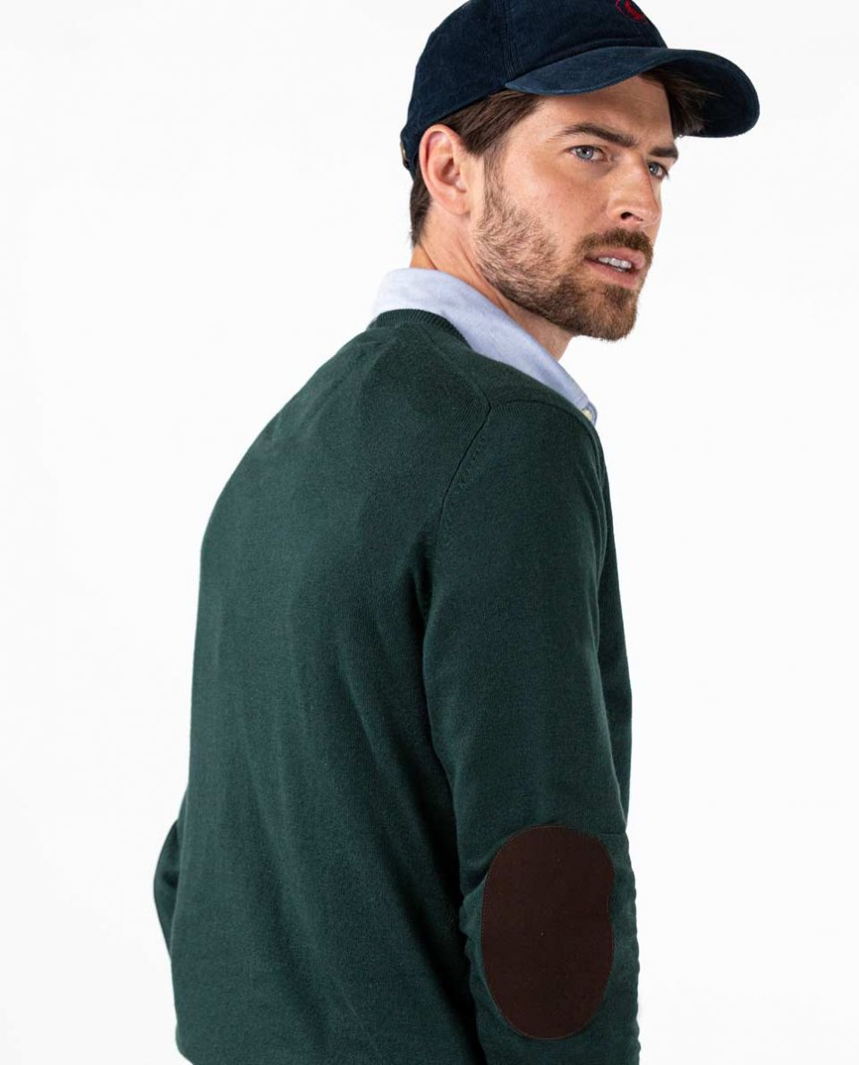Bottle Green V-Neck Jumper in Cotton Cashmere W  Elbow Patches