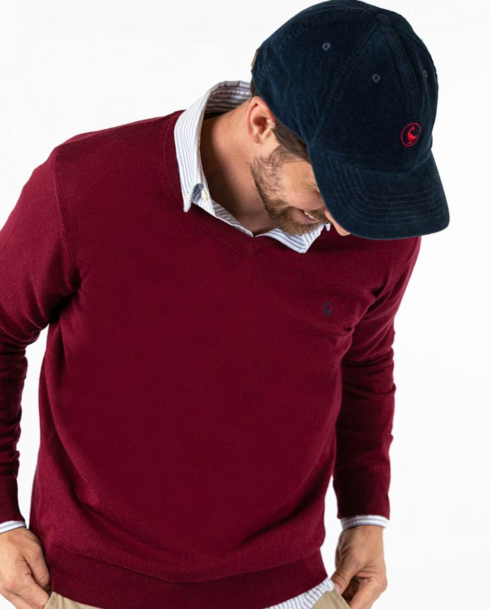 Maroon V-Neck Jumper in Cotton Cashmere W  Elbow Patches