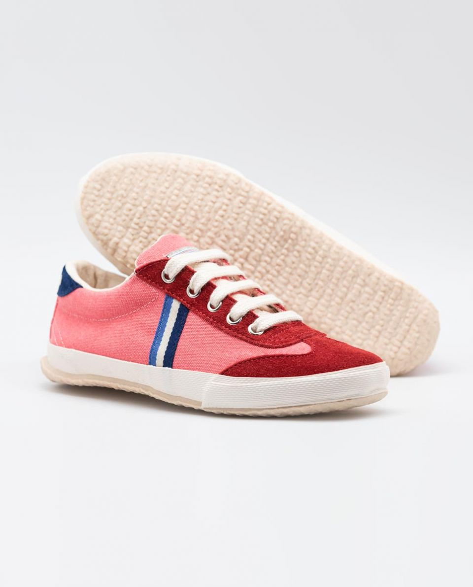 Red Washed Canvas Match Sneakers