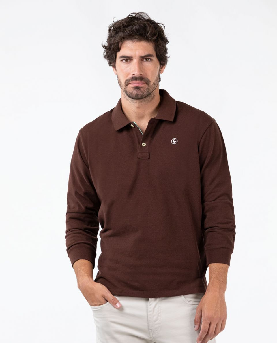 Long-Sleeved GRS Recycled Brown Polo
