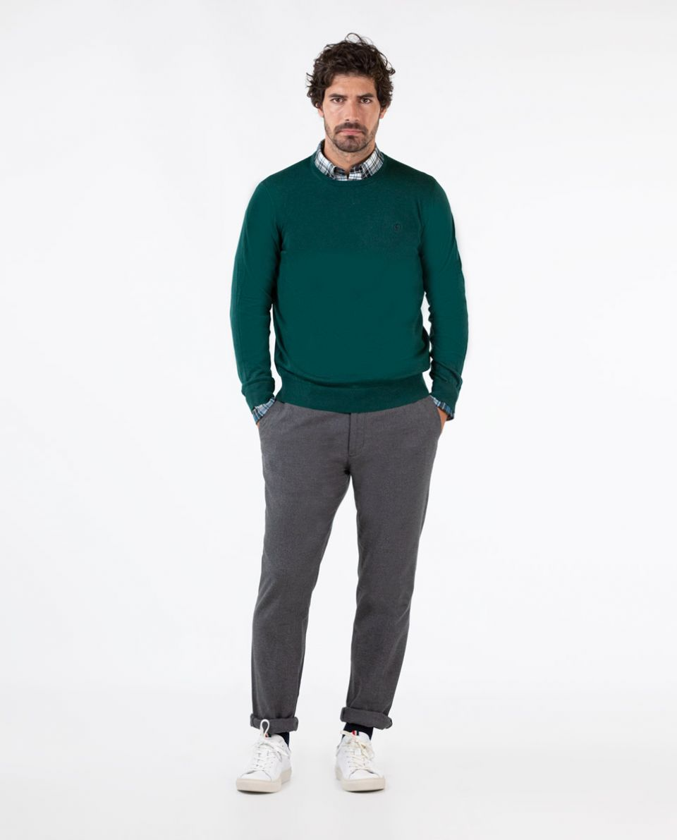 Pull Col Rond Coton Vert