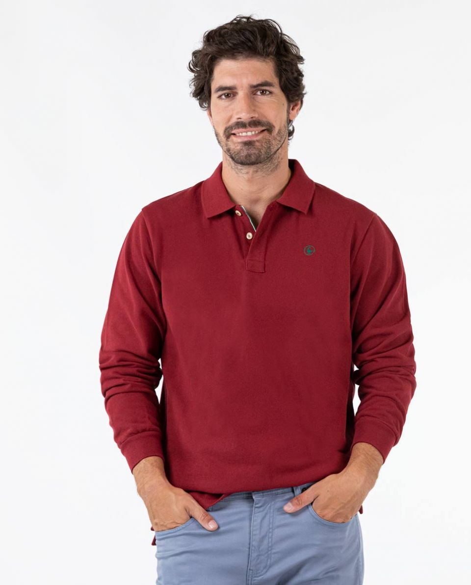 Long-Sleeved GRS Recycled Maroon Polo
