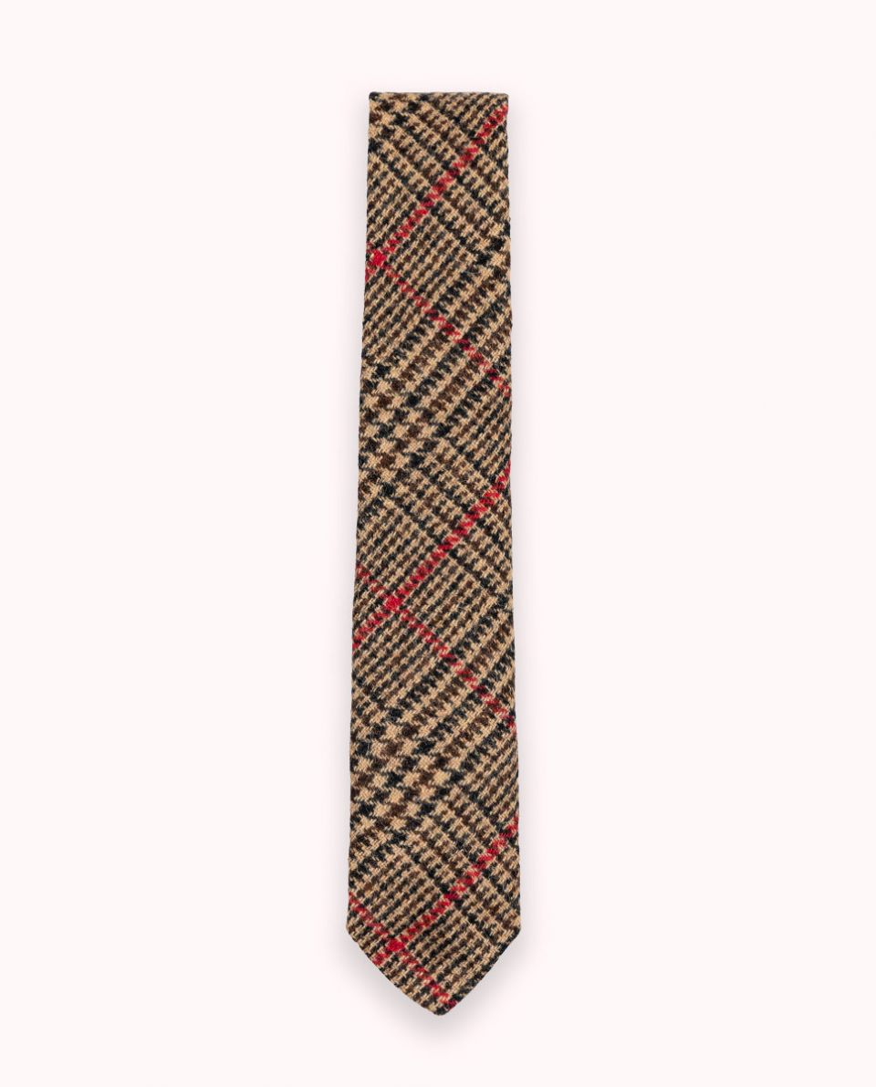 Prince of Whales Check Tie W Red Outline