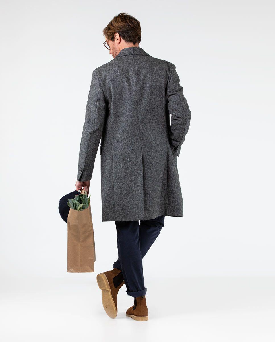Grey Herringbone tuxedo collar Coat  Image 3
