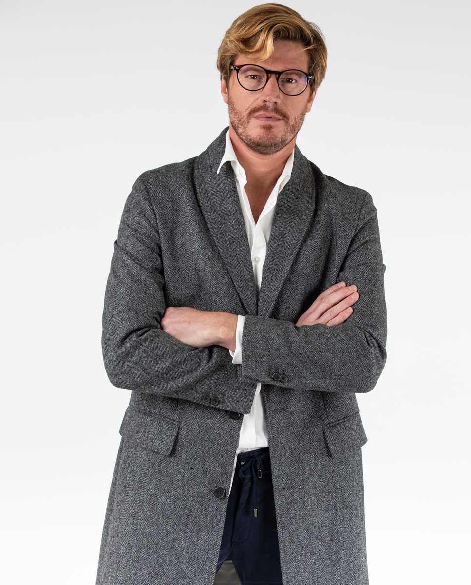 Grey Herringbone tuxedo collar Coat  Image 5