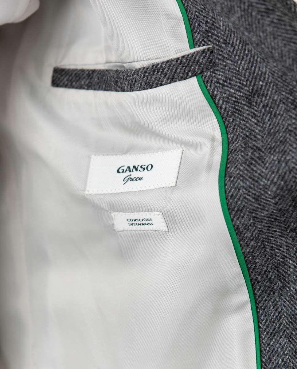 Grey Herringbone tuxedo collar Coat  Image 6