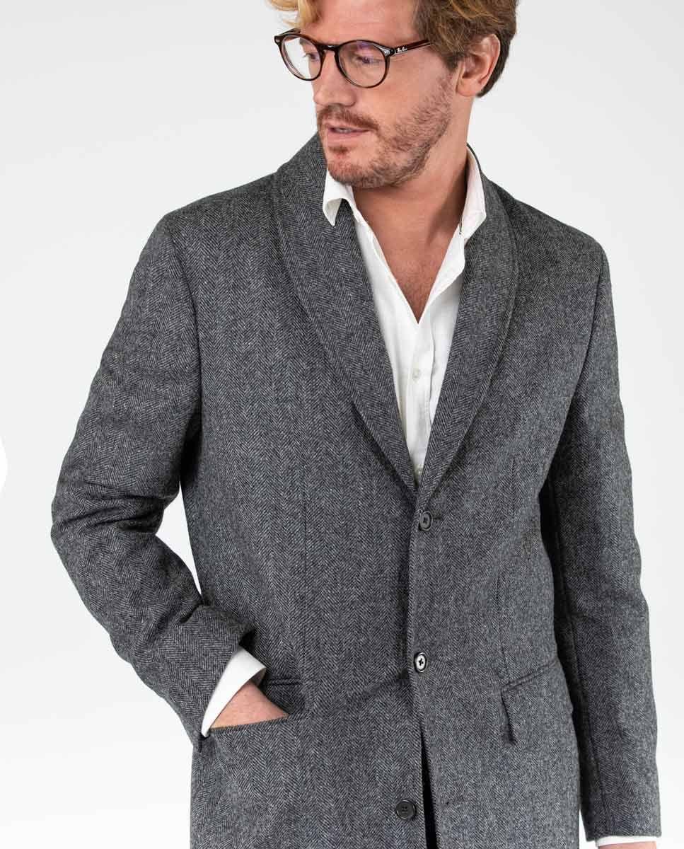 Grey Herringbone tuxedo collar Coat  Image 4
