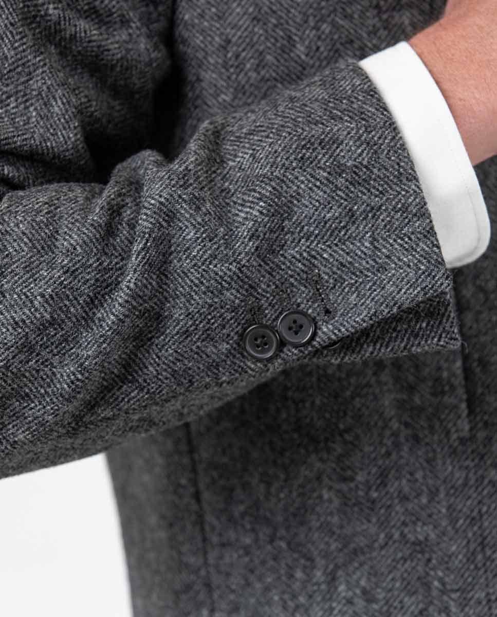 Grey Herringbone tuxedo collar Coat  Image 7