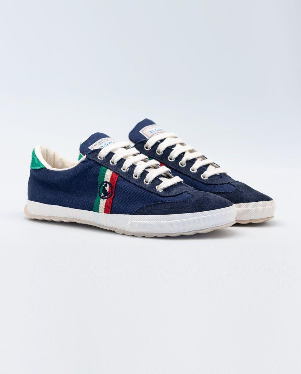 Navy Canvas Classic Match Sneaker W/ Logo  Image 4