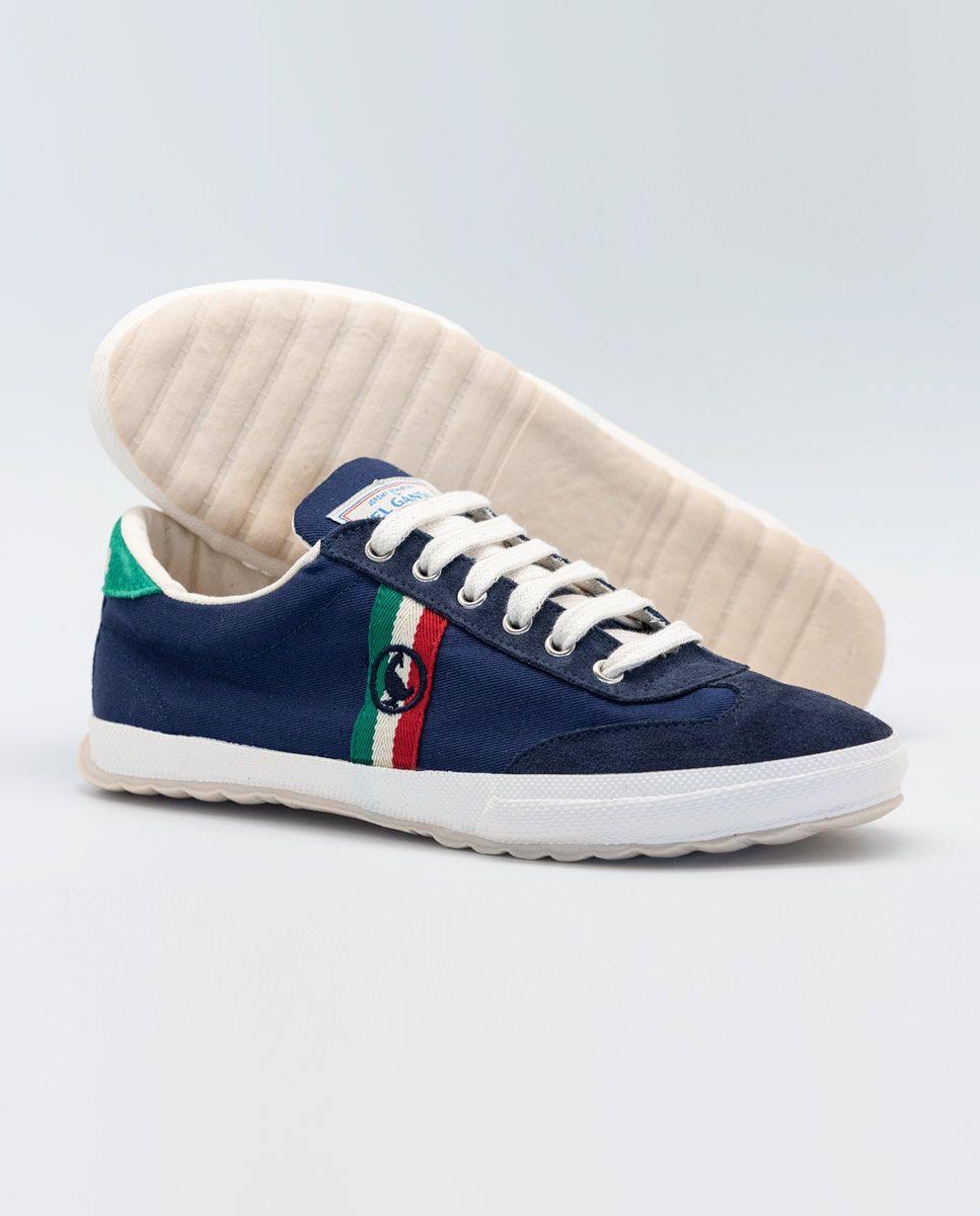 Navy Canvas Classic Match Sneaker W/ Logo  Image 3
