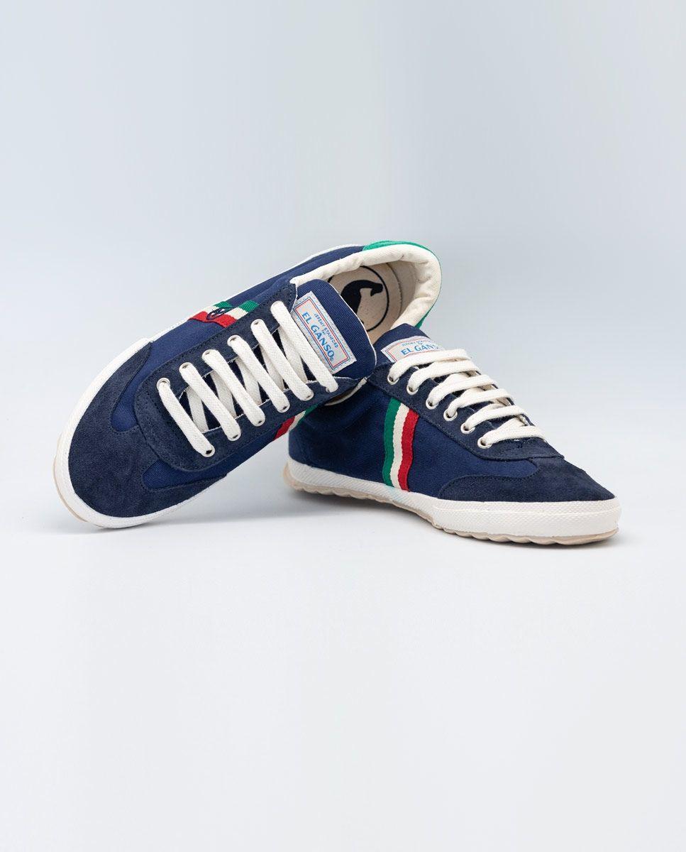 Navy Canvas Classic Match Sneaker W/ Logo  Image 5