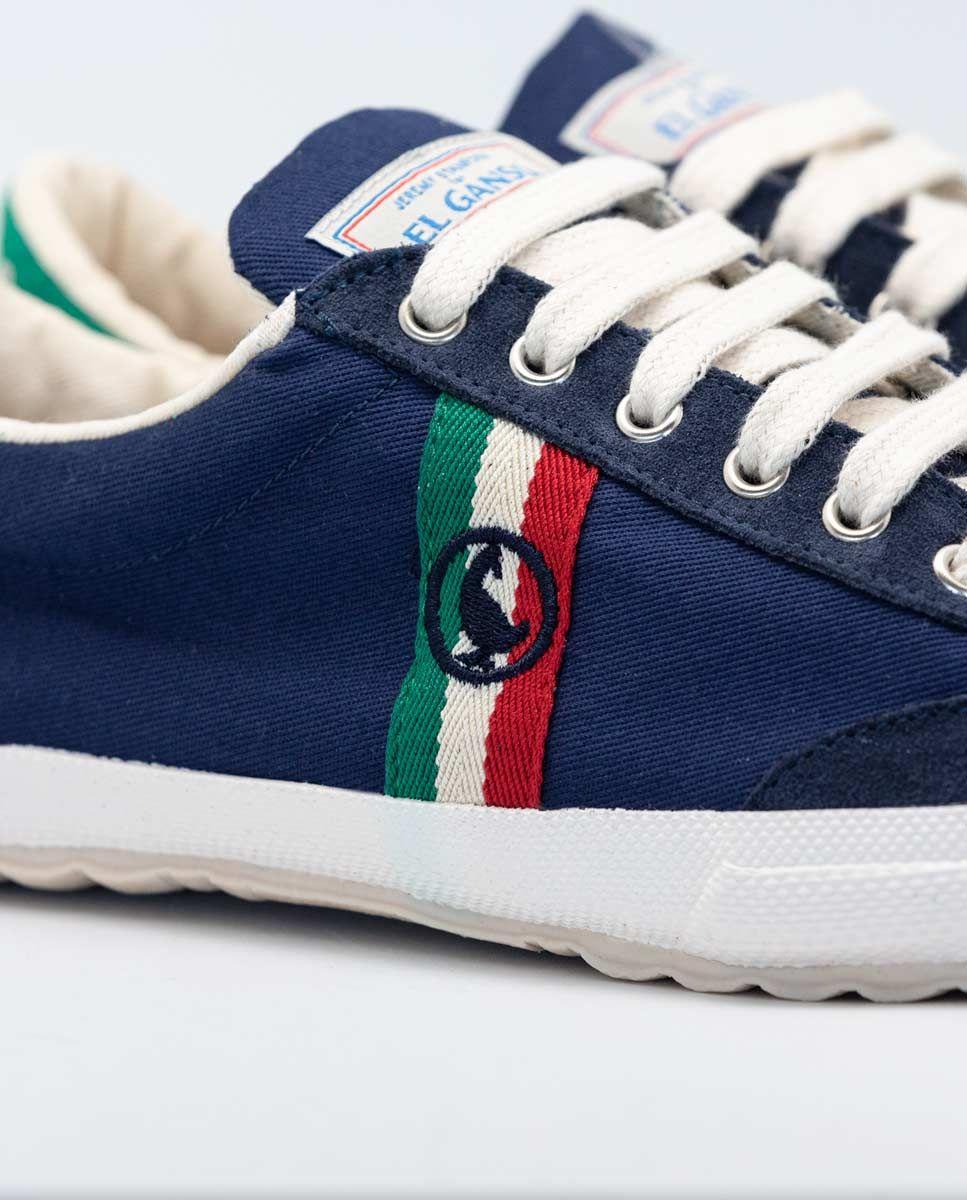 Navy Canvas Classic Match Sneaker W/ Logo  Image 2