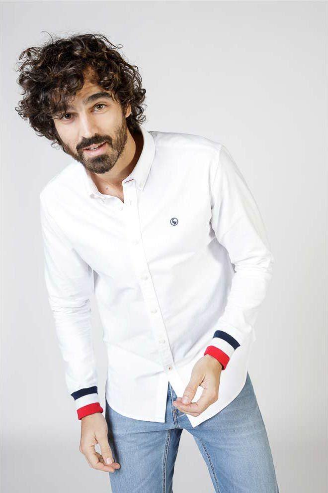 Plain White Oxford Shirt W  Cuffs Image 2
