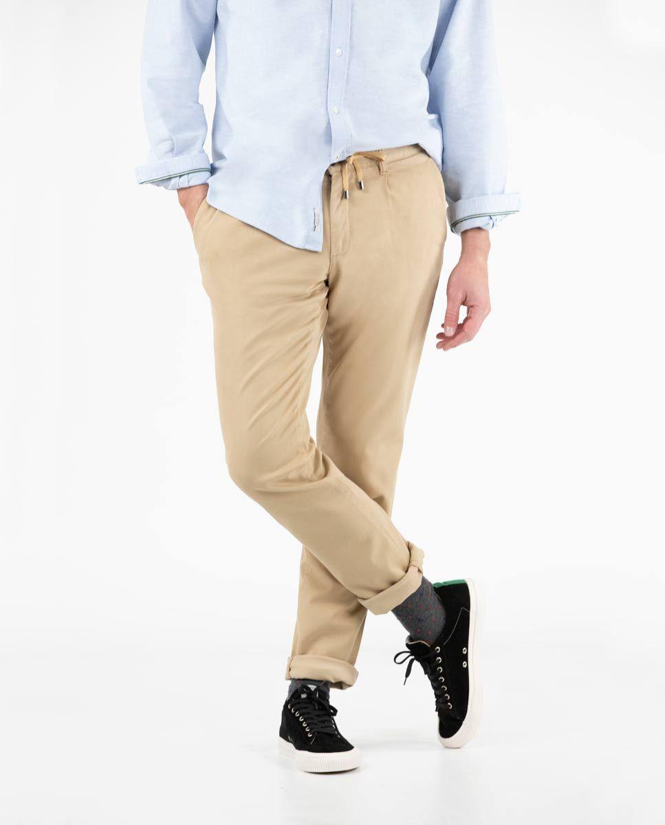 Camel plain Cotton Drawstring Pants  Image 3
