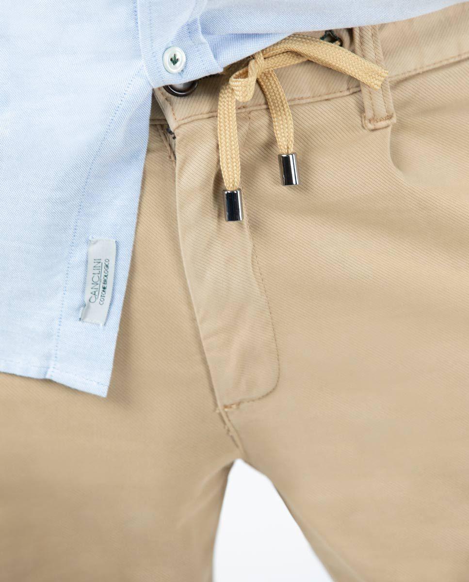 Camel plain Cotton Drawstring Pants  Image 4