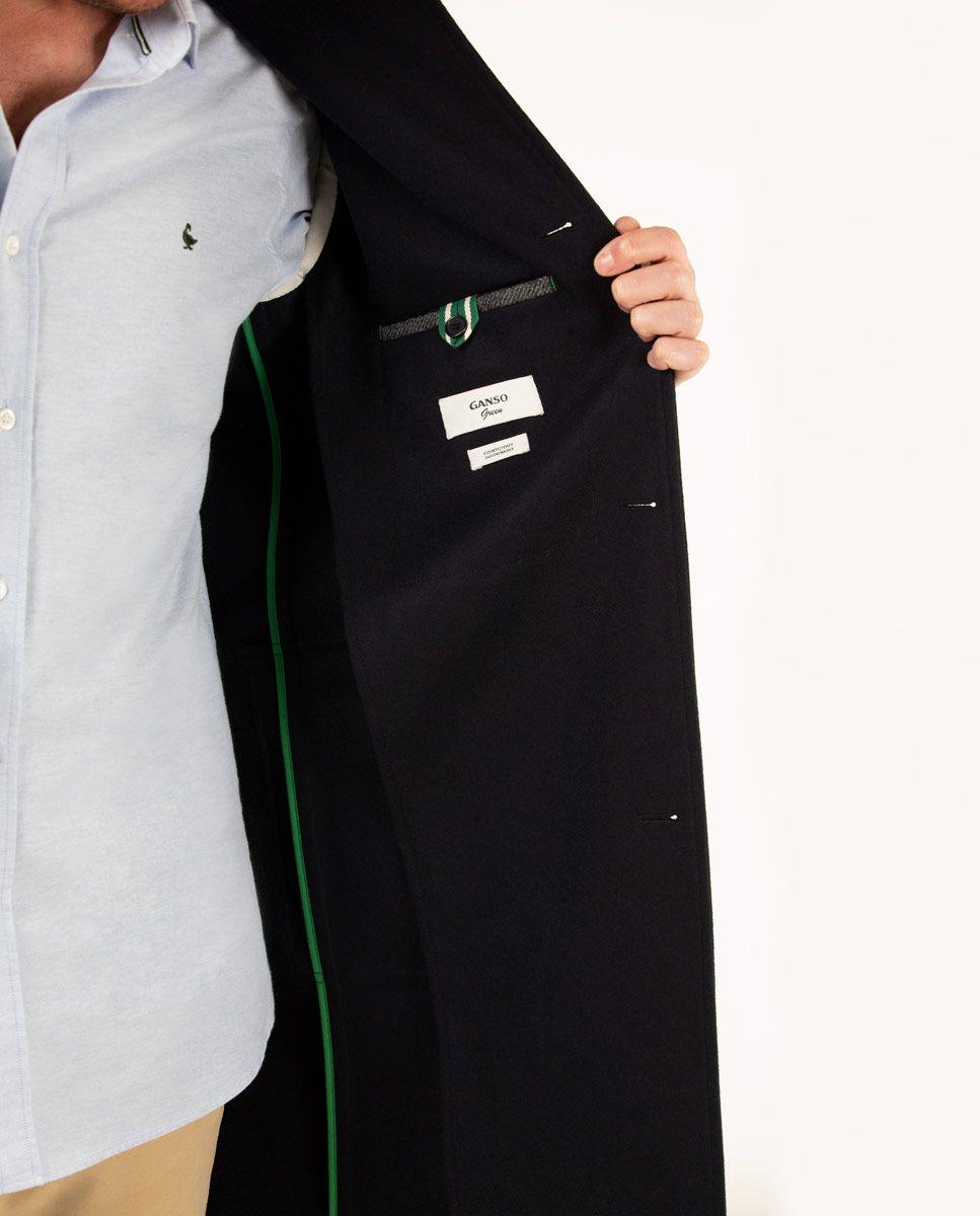 Navy strip collar Coat Image 4