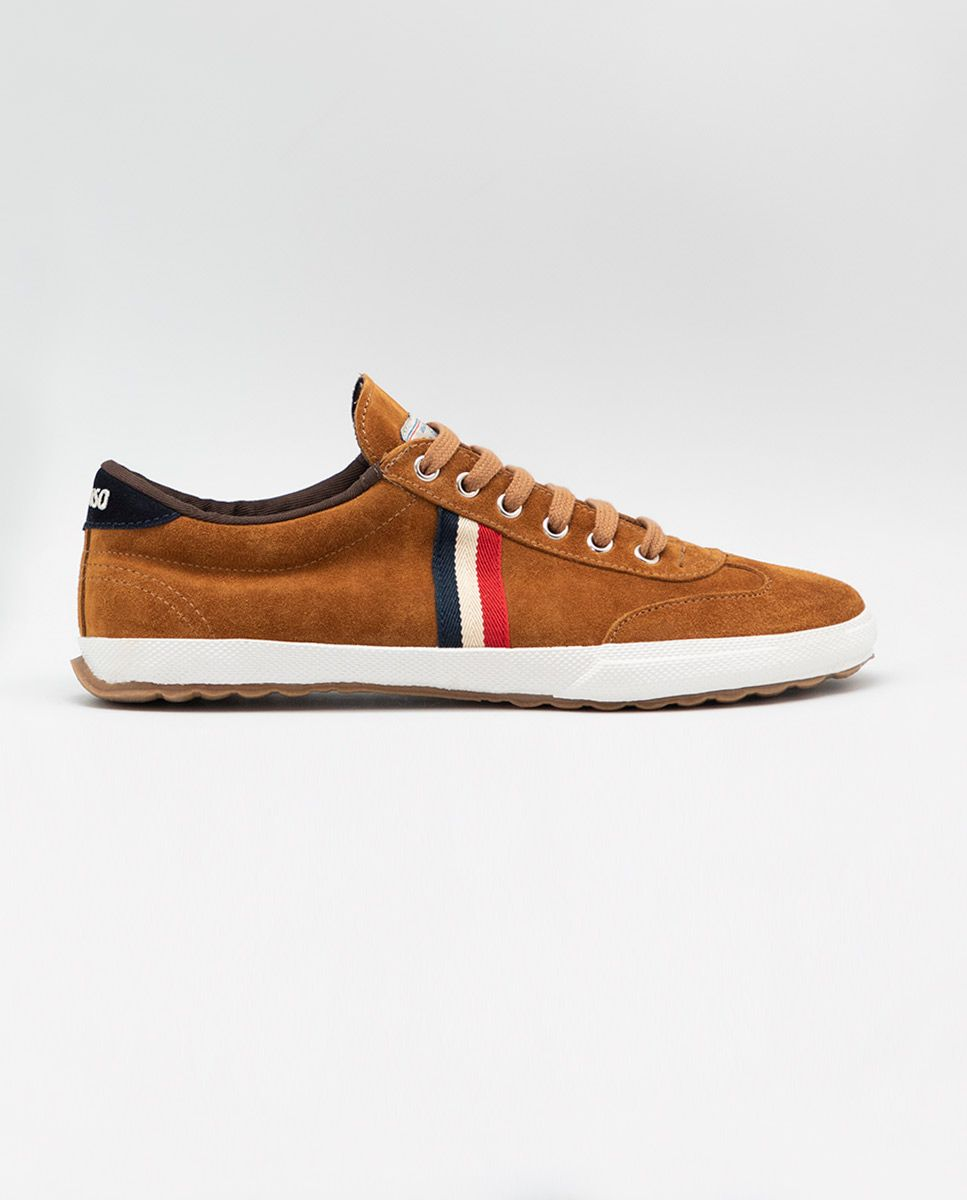 Camel Suede Gum-Sole Match Sneaker Image 1