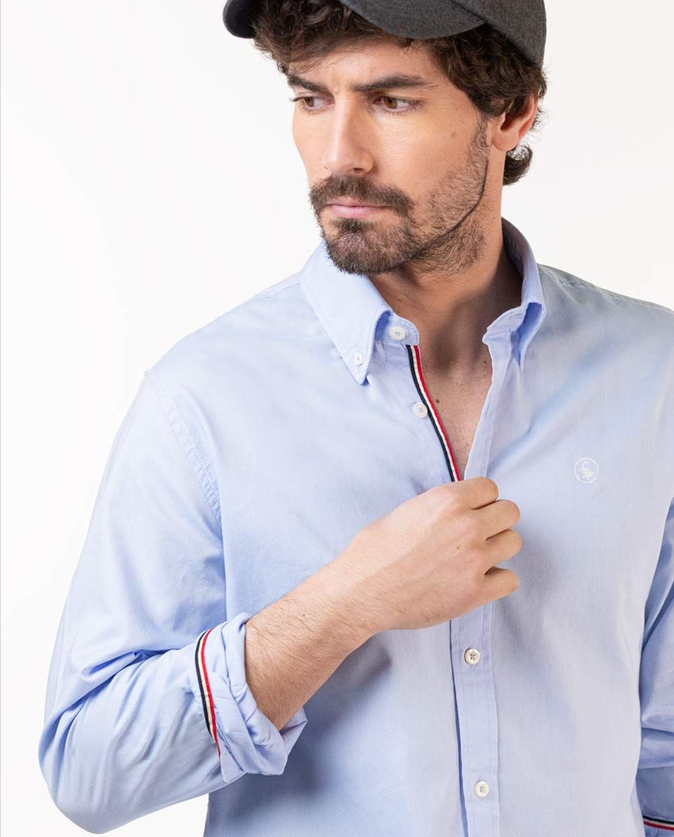 Classic Sky Blue Pinpoint Flag Shirt Image 5