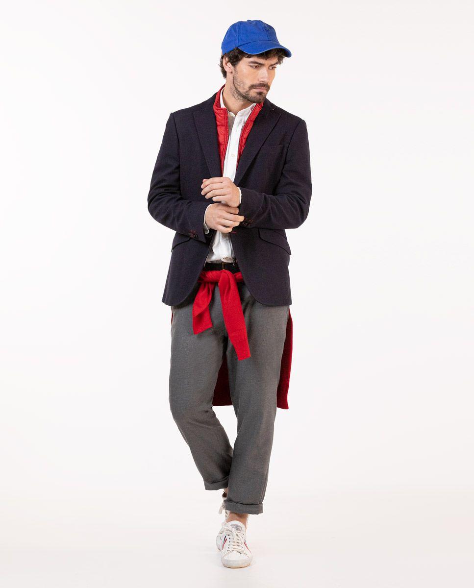 Navy Knit Blazer W/ Lining Image 3