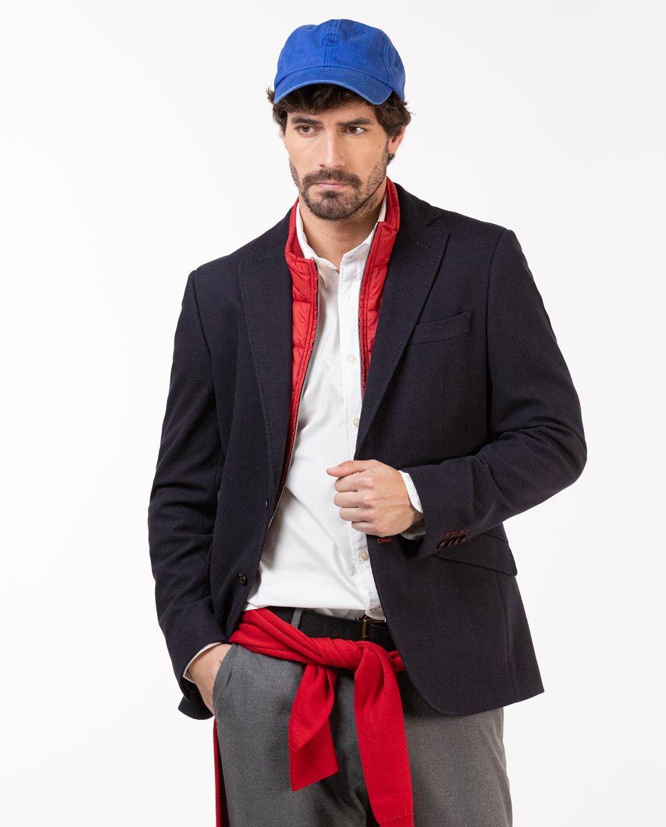 Navy Knit Blazer W/ Lining Image 1