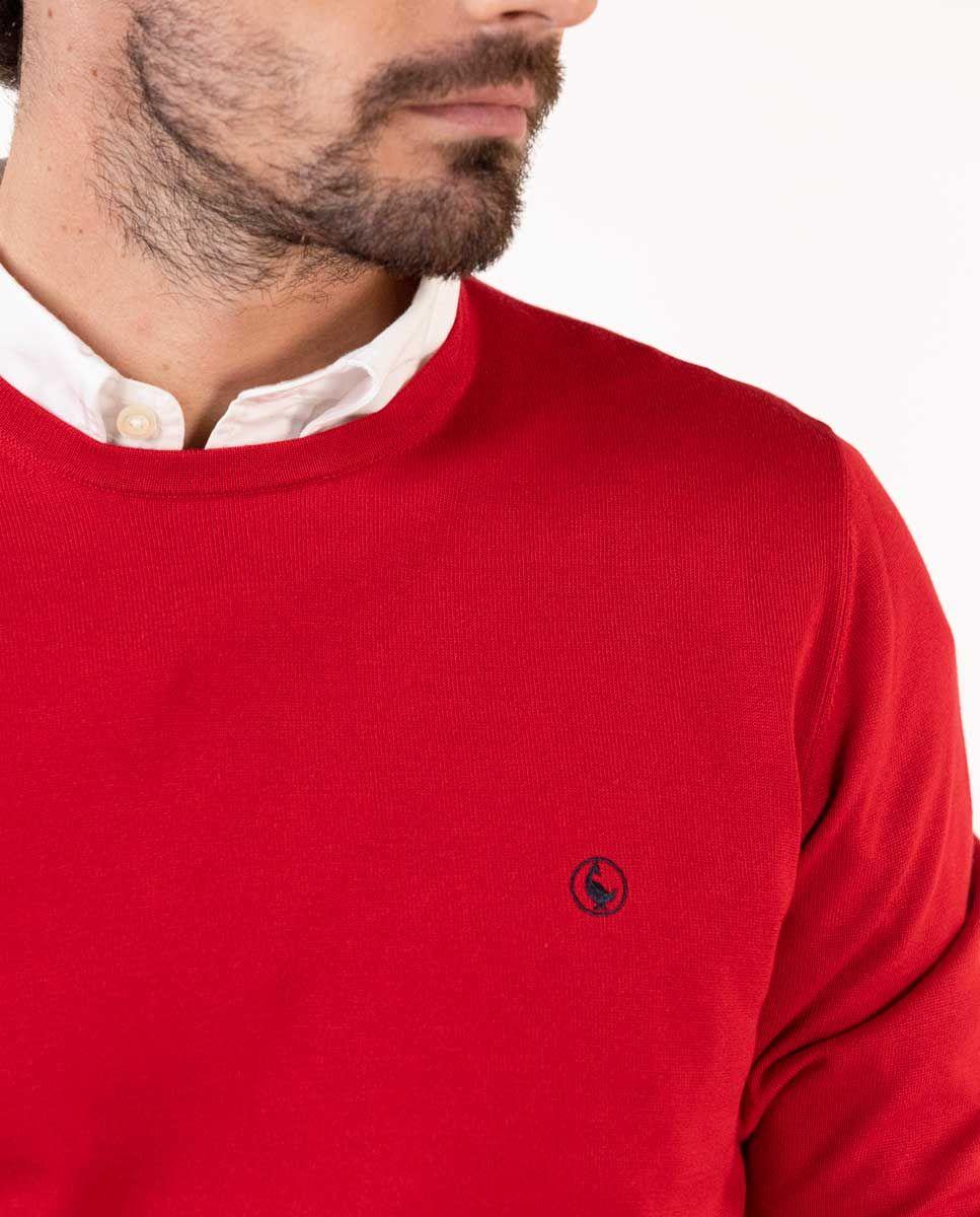 Jersey Cuello Caja Algodón Rojo Image 5