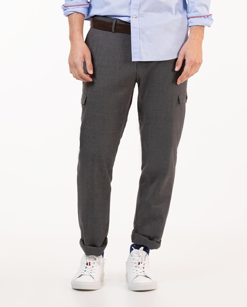 Grey Wool Cargo Trousers Image 2