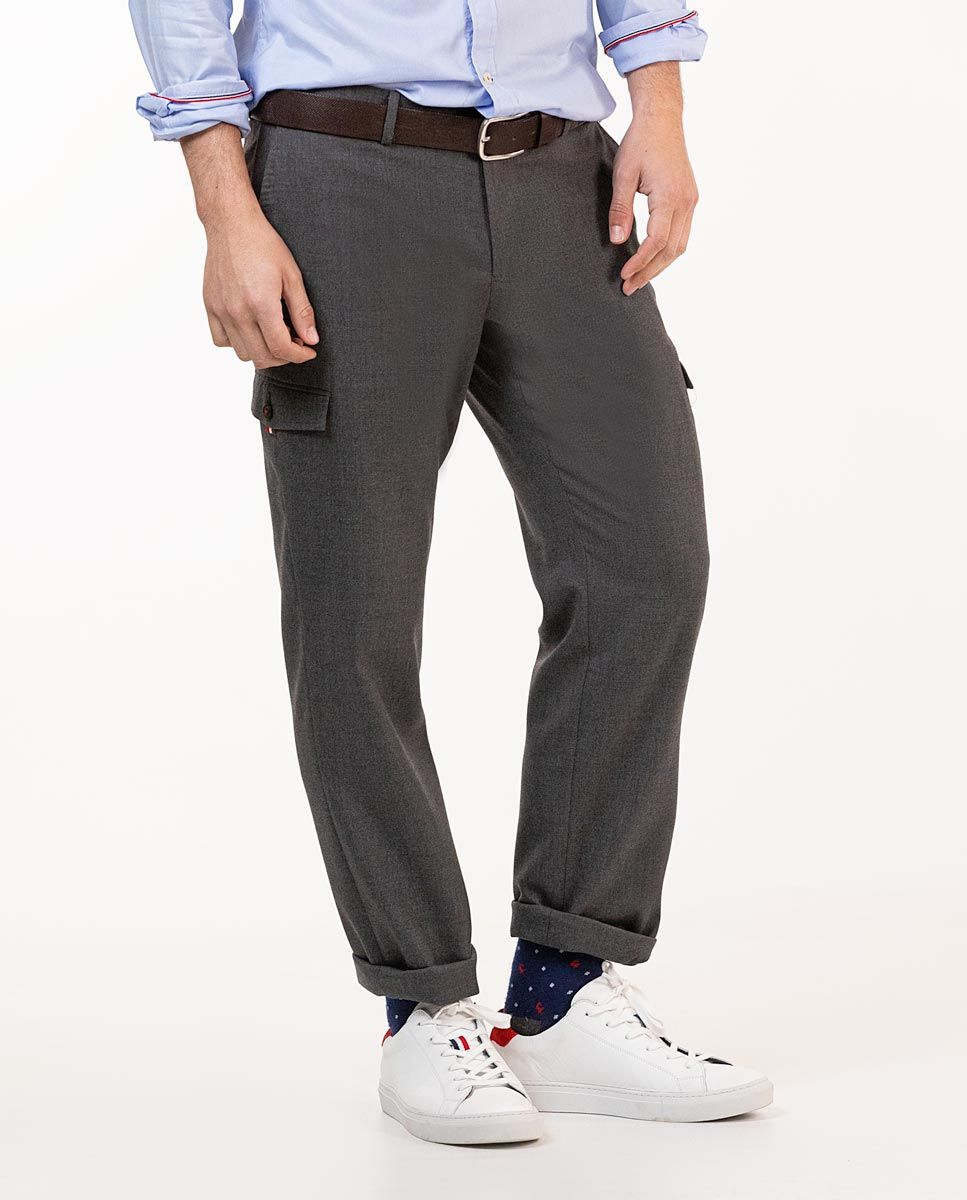 Grey Wool Cargo Trousers Image 3