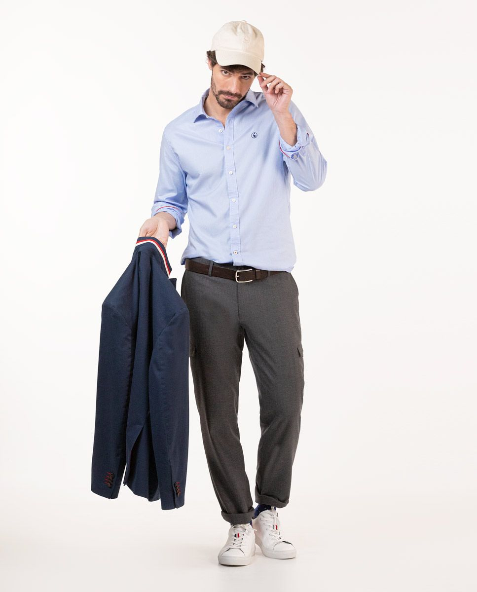Grey Wool Cargo Trousers Image 4