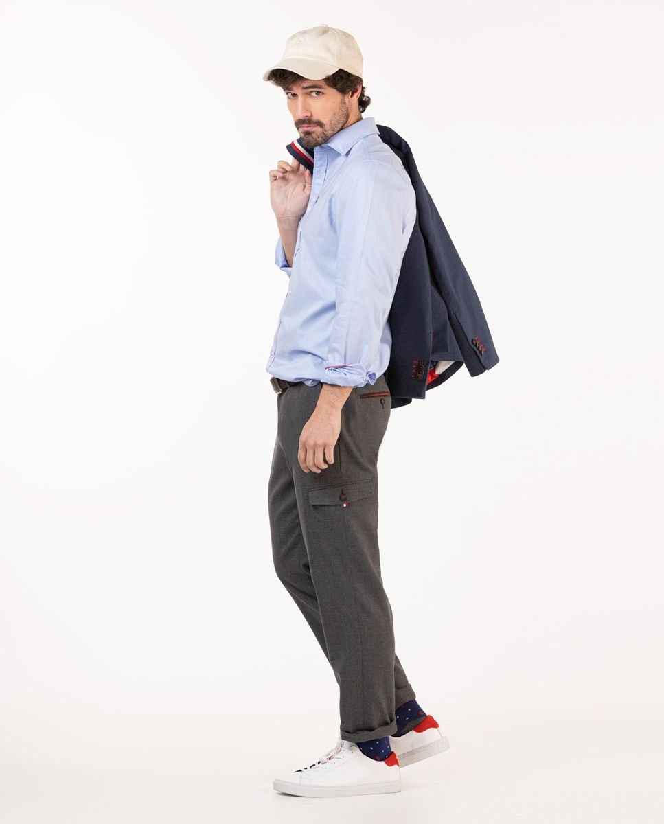 Grey Wool Cargo Trousers Image 5