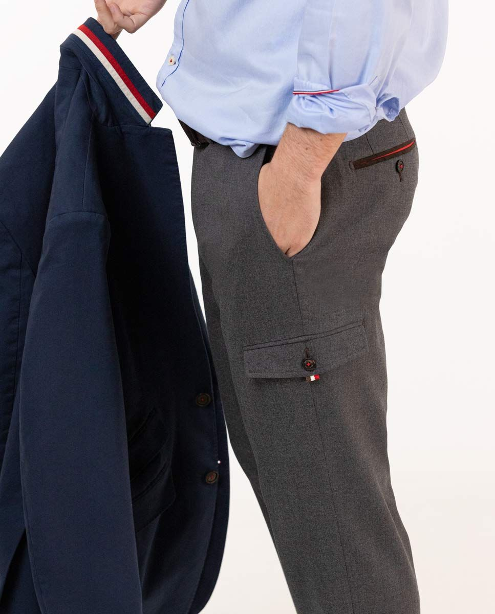 Grey Wool Cargo Trousers Image 7