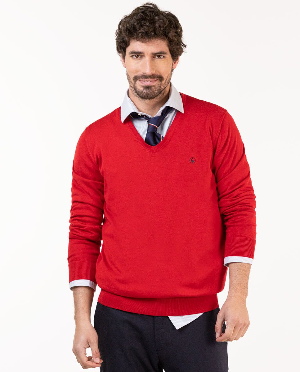 Pull-over Col V Coton Rouge Image 5