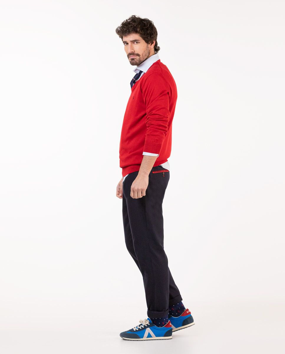 Pull-over Col V Coton Rouge Image 3