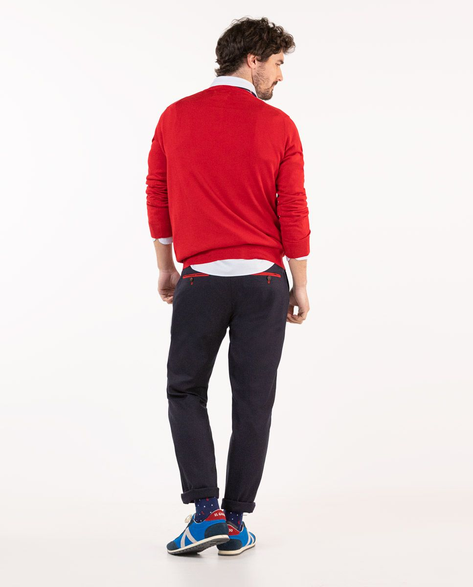 Pull-over Col V Coton Rouge Image 1