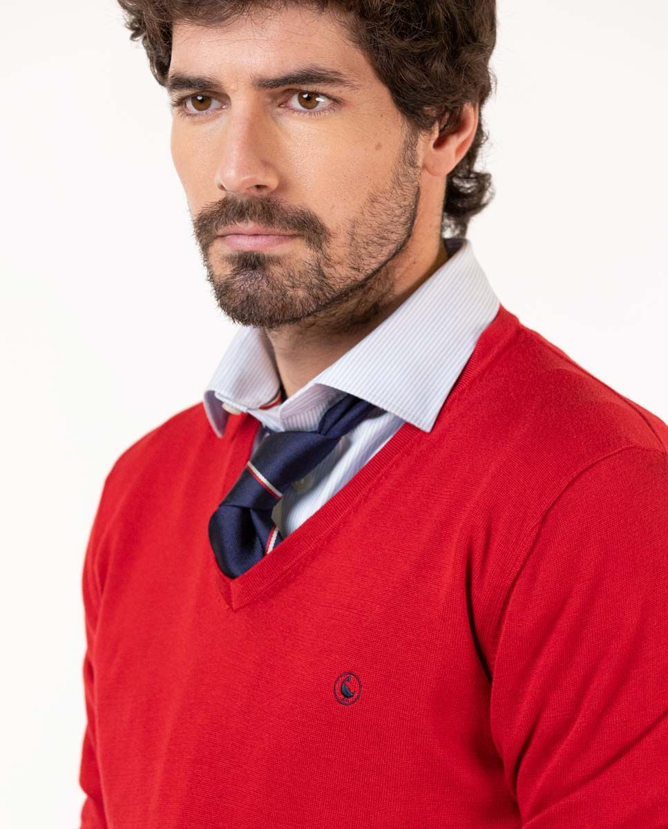 Pull-over Col V Coton Rouge Image 4