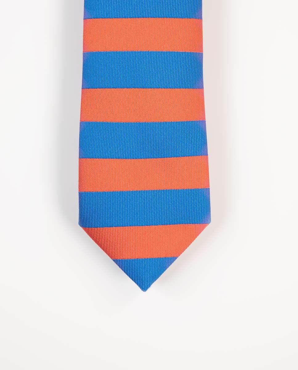 Corbata Rayas Horizontales Azul/Naranja Image 2