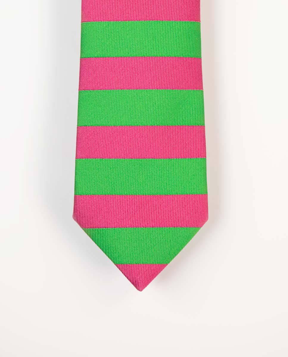 Corbata Rayas Horizontales Verde/Rosa Image 1