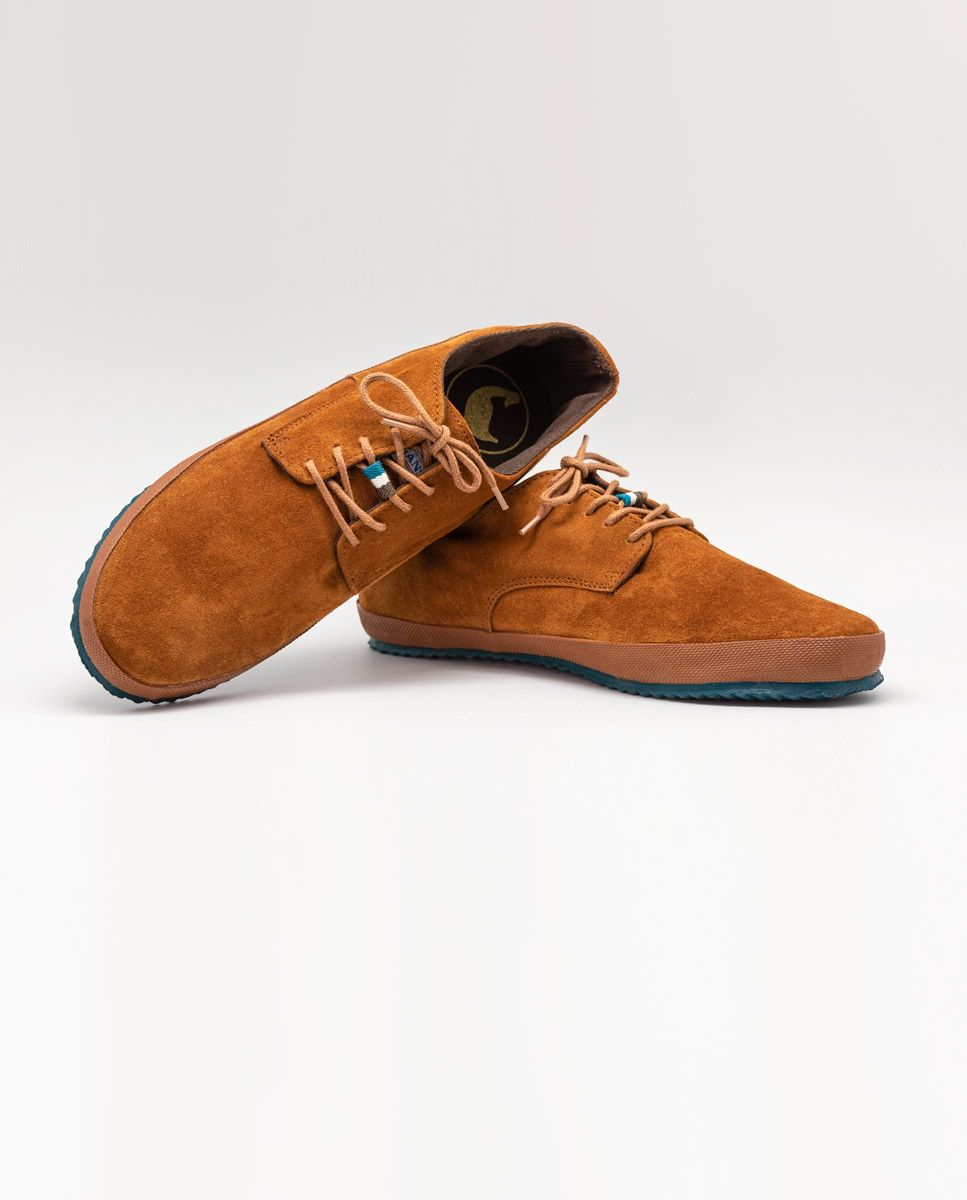 Chaussure Derby semelle gomme daim Camel Image 3