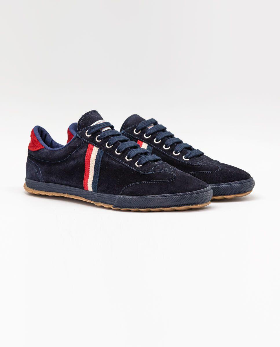 Navy Suede Gum-Sole Match Sneaker Image 2