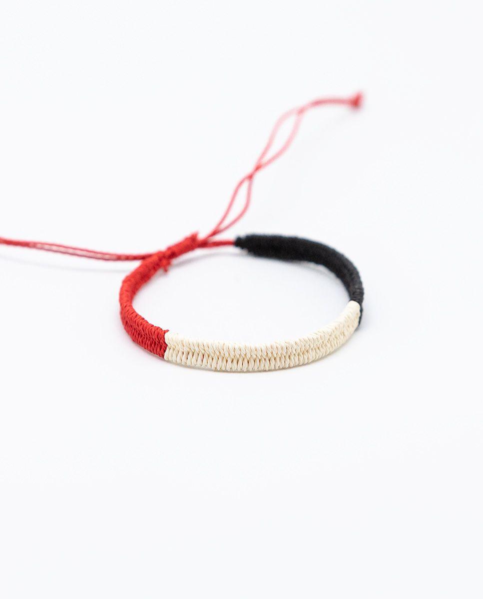 Pulsera Tricolor Rojo/Crudo/Negro Image 1