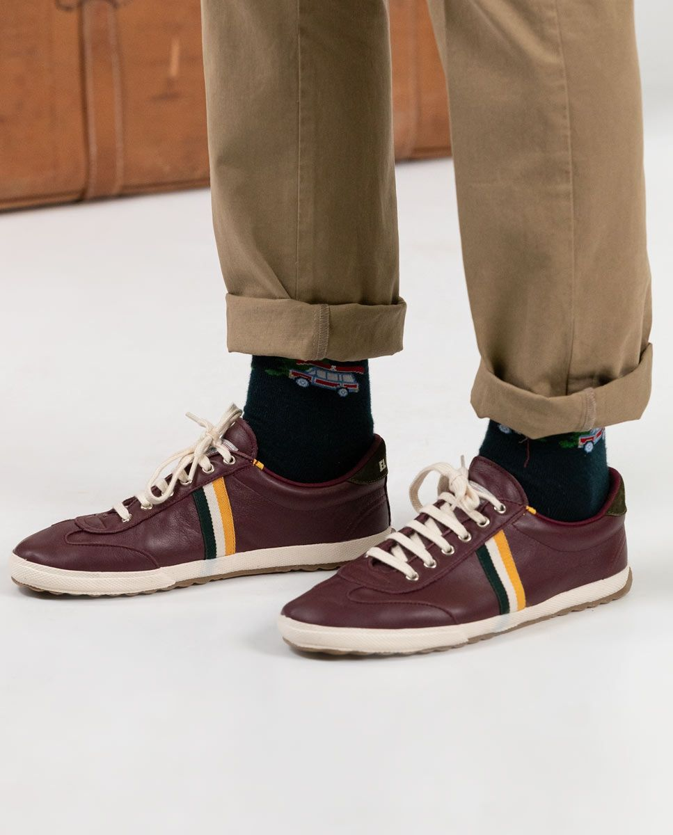 Maroon Leather Match Sneaker Image 1