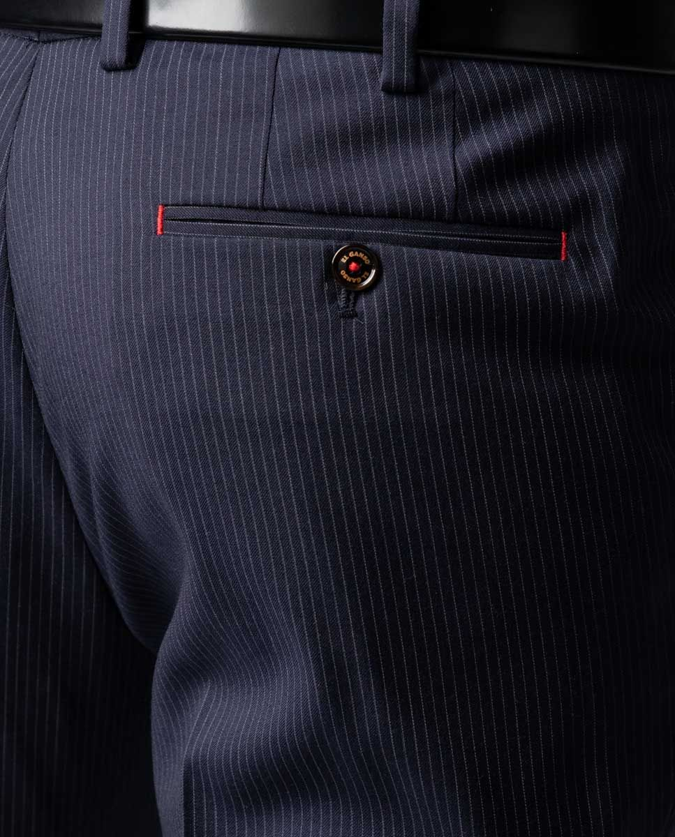 Navy Pinstripe Trousers Image 1