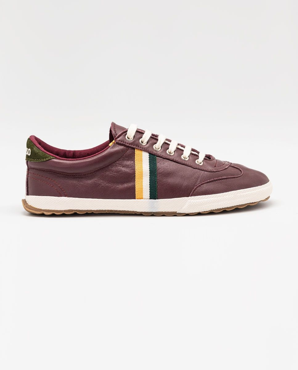 Maroon Leather Match Sneaker Image 4