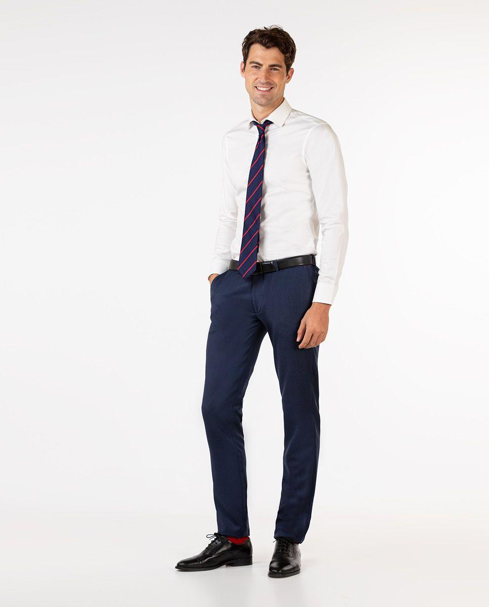 Navy Birdseye Trousers Image 2